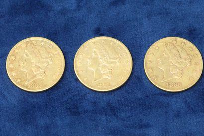 """3 pièces en or de 20 dollars """"Liberty Head double Eagle"""" 1880, 1883, 1884.  Poids..."""