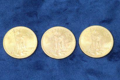 """3 pièces en or de 20 dollars """"Saint Gaudens double Eagle"""" 1922, 1923, 1924.  Poids..."""