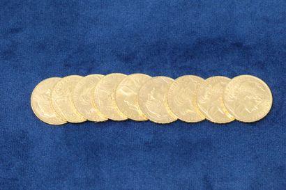 9 pièces en or de 20 Francs au Coq, 1907x9....