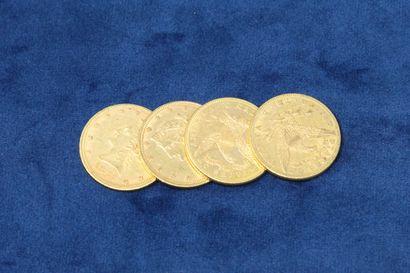4 pièces en or de 10 dollars
