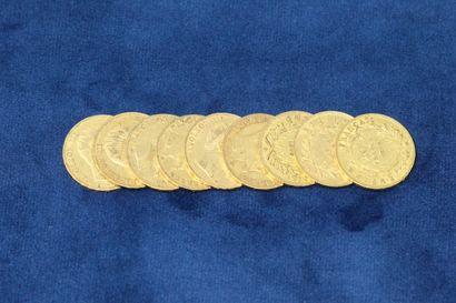 9 pièces en or de 20 Francs Napoléon III...