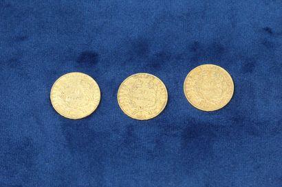 3 pièces en or de 20 Francs Cérès, 1850 A, 1851 A x2.  Poids : 19.35g.  TB à TT...