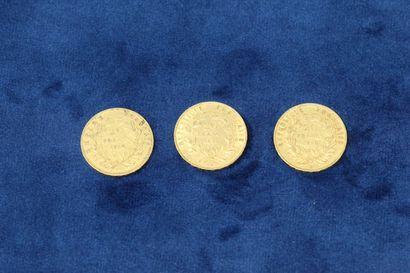 3 pièces en or de 20 Francs Napoléon III tête nue, 1852 A x2, 1854 A.  Poids : 19.35g....