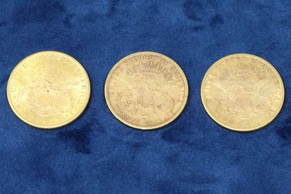 """3 pièces en or de 20 dollars """"Liberty Head double Eagle"""" 1898x3.  Poids : 100.29g...."""