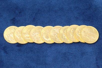 10 Souverains en or Georges V 1912.  Poids...