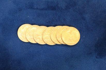 7 pièces en or de 20 Francs au Coq, 1905,...