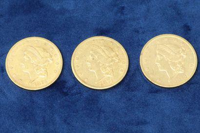 3 pièces en or de 20 dollars