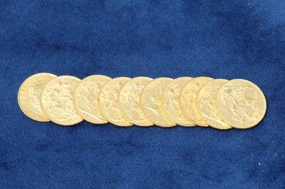 10 Souverains en or Georges V 1909, 1910x7,...