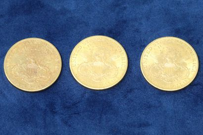"""3 pièces en or de 20 dollars """"Liberty Head double Eagle"""" 1906, 1907x2.  Poids :..."""