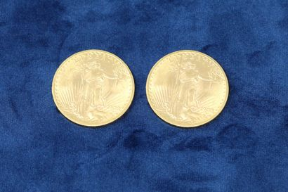 """2 gold coins of 20 dollars """"Saint Gaudens double Eagle"""" 1908x2.  Weight : 66.86g...."""