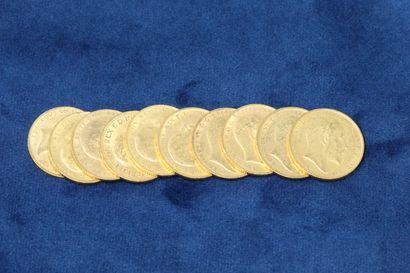 10 Souverains en or Georges V 1904x5, 1907x4,...