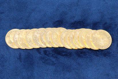 15 pièces en or de 20 Francs Helvetia, 1935x15....