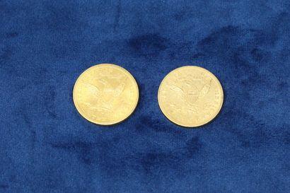 "2 pièces en or de 10 dollars ""Coronet Head Eagle"" 1901, 1905.  Poids : 33.43g.  TB..."