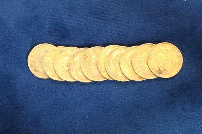 10 pièces en or de 20 Francs Napoléon III...
