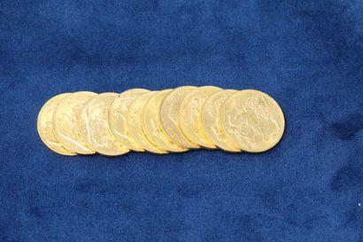 10 Souverains en or Georges V 1912x7, 1914x3....