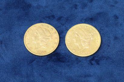 """2 pièces en or de 20 dollars """"Liberty Head double Eagle"""" 1900x2.  Poids : 66.86g...."""