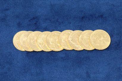 9 pièces en or de 20 Francs au Coq, 1902x2,...
