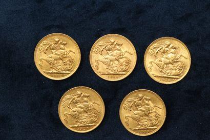 Lot de 5 Souverains en or Edouard VII 1910, Georges V 1911, 1912, 1914, 1927.  TB...