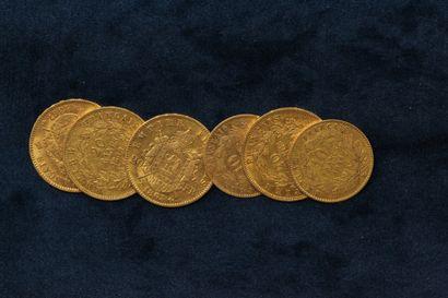 Lot de pièces en or comprenant :  - 2 x 20 francs Napoléon III tête nue 1859 A ;...