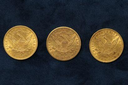 "3 pièces en or de 10 dollars ""Coronet Head Eagle"" 1901 (San Francisco), 1907 (Philadelphie)..."