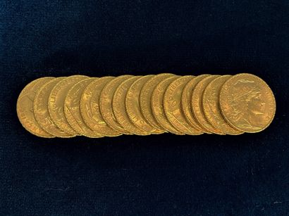 Lot of 15 gold coins of 20 francs cock 1905...