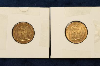 Lot de 2 pièces en or de 20 Francs au Génie...