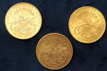 "3 pièces en or de 20 dollars ""Liberty Head double Eagle"" 1902 (Philadelphia), 1904..."