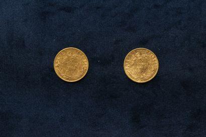 OB Deux pièces en or de 5 francs Napoléon III tête laurée 1862 A  TB à TTB.  Poids...