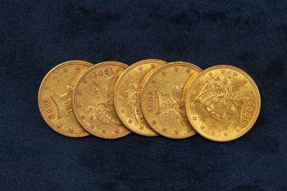 """5 pièces en or de 10 dollars """"Coronet Head Eagle"""" 1881 (Philadelphie) x 2, 1884..."""