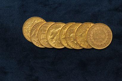 8 pièces en or de 20 Francs :  Cérès, IIème République, 1850 A, 1851 A x 2  Napoléon...