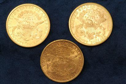 "3 pièces en or de 20 dollars ""Liberty Head double Eagle"" 1880 (Sans Francisco) x..."