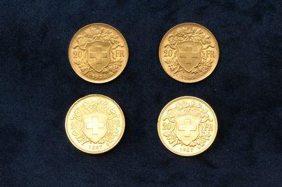 SUISSE  Quatre pièces en or de 20 francs Vreneli 1927 B - 1935 LB (x2) - 1947 B....