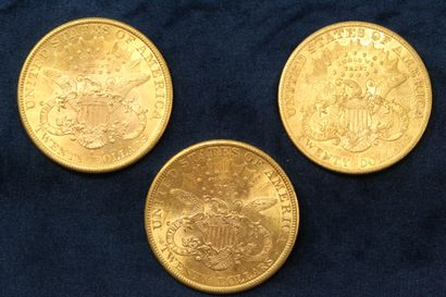 "3 pièces en or de 20 dollars ""Liberty Head double Eagle"" 1898 (Sans Francisco) x..."