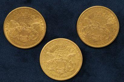"3 pièces en or de 20 dollars ""Liberty Head double Eagle"" 1878 (San Francisco) x..."