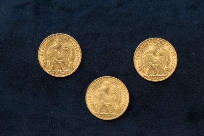 Three gold coins 20 francs Coq 1907.  VG to TTB.  Weight : 19.30 g.