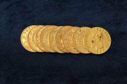 Lot of nine gold coins including :  - 4 x 20 francs Genie IIIè République (1877...