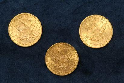 """3 pièces en or de 10 dollars """"Coronet Head Eagle"""" 1894 (Philadelphie) x 3.  TB à..."""