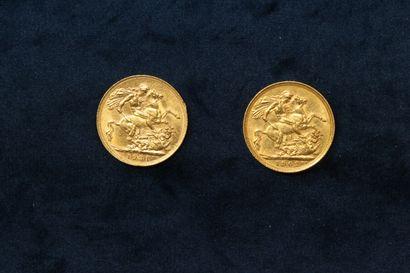 Lot composé de deux souverains :  - Georges V (1921)  - Edward VII (1902)  Poids...