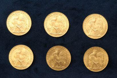 Six pièces en or de 20 francs Coq 1912.  TB à TTB  Poids : 38.72 g.