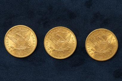 """3 pièces en or de 10 dollars """"Coronet Head Eagle"""" 1901 (Philadelphie) x 3.  TB à..."""