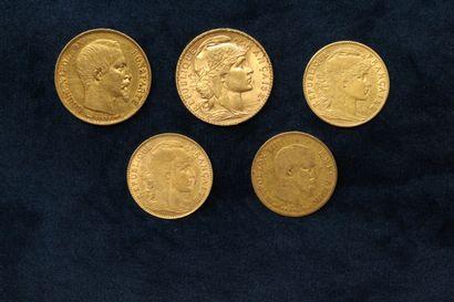 Lot de pièces en or comprenant :  - 20 francs...
