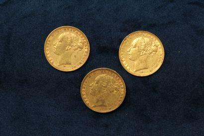 3 Gold Sovereigns Victoria Jeune 1880, 1884...