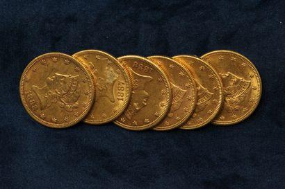 "6 pièces en or de 10 dollars ""Coronet Head Eagle"" 1887 (San Francisco), 1888 (San..."
