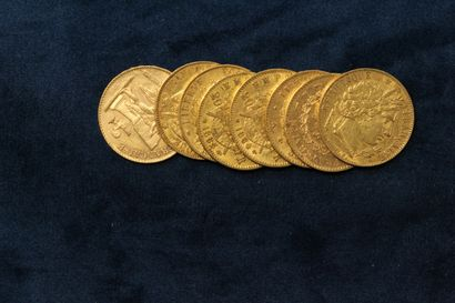 8 gold coins of 20 Francs :  Ceres, II Republic,...