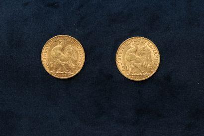 OB Deux pièces en or de 20 francs Coq 1911  TB à TTB  Poids total : 12.88 g.