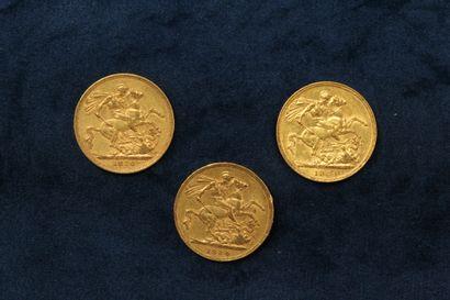 3 Souverains en or Victoria Jeune 1880, 1884 x 2.  TTB à SUP.  Poids : 23.97g.