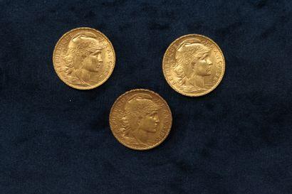 Trois pièces en or 20 francs Coq 1904 - 1909...