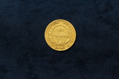 Gold coin of 40 francs Napoleon Emperor year 13 A (Paris)  B.  Weight : 12.84 g...