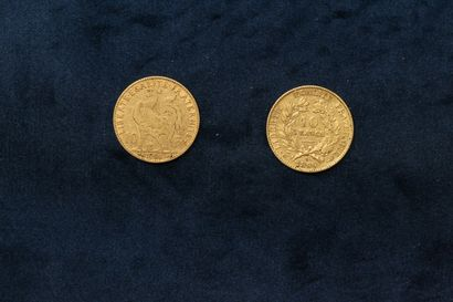 OB Two 10 franc gold coins : Ceres 1899 A ; Rooster 1906  VG to TTB.  Total weight...