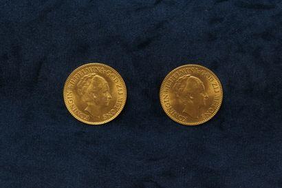 NETHERLANDS  Two gold coins of 10 Gulden - Wilhelmina I 1926 - 1932. TTB.    Weight...